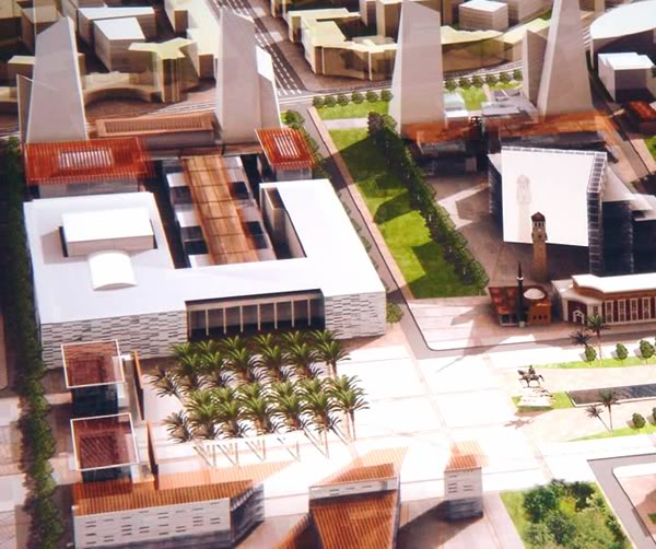 Architectural render of the building behind the Clock Tower on the right.