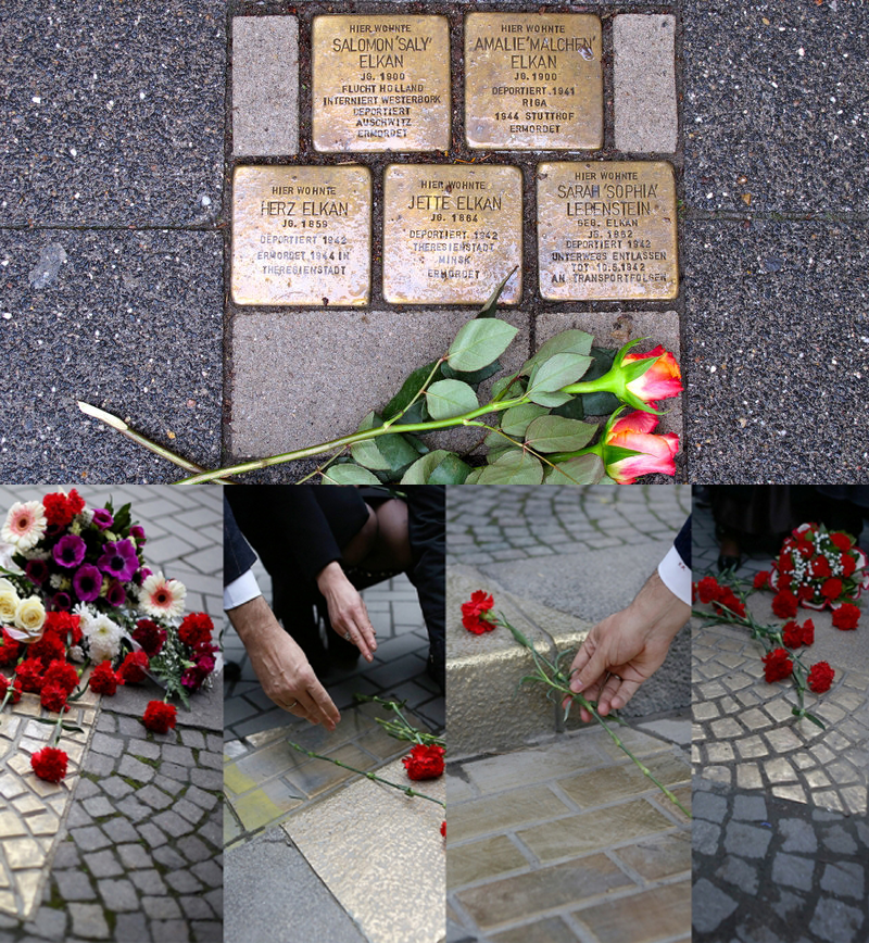 Top: Brass bricks (Stolpersteine) in Raesfeld, Germany, commemorating victims of the Nazi regime; Bottom: Brass tiles designed by 51NE4 commemorating the victims of January 21, 2011. The hand is Rama's.