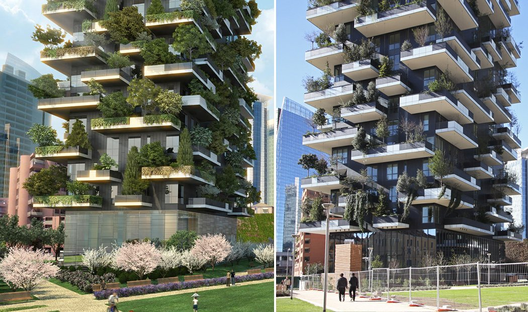 Architectural render (left) vs. reality (right) of Boeri's Vertical Forest.