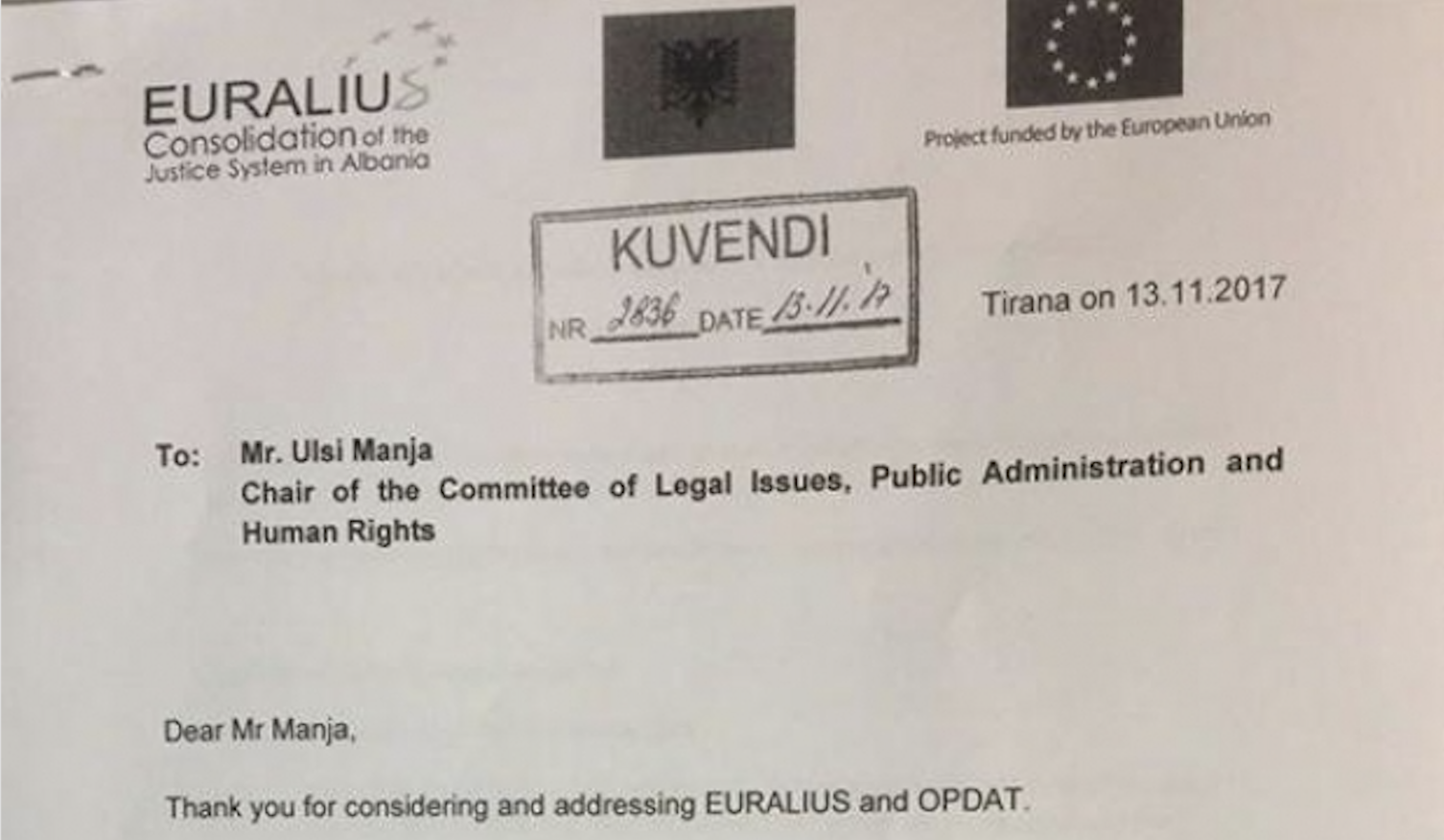 EURALIUS Hides Legal Opinion on the Temporary Prosecutor