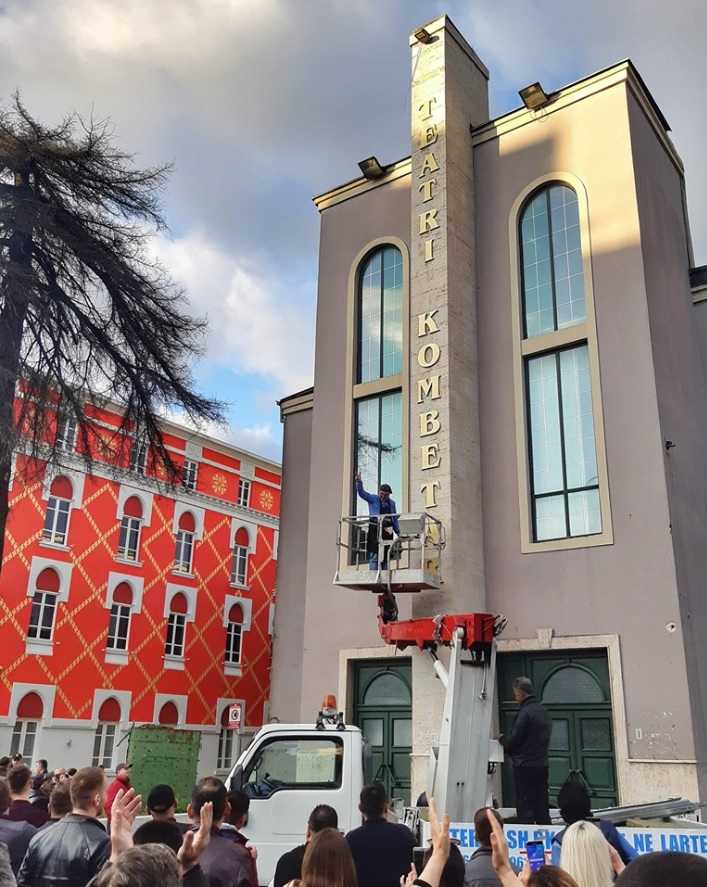 Triumphant Protestors Replace Letters on Facade of National Theatre