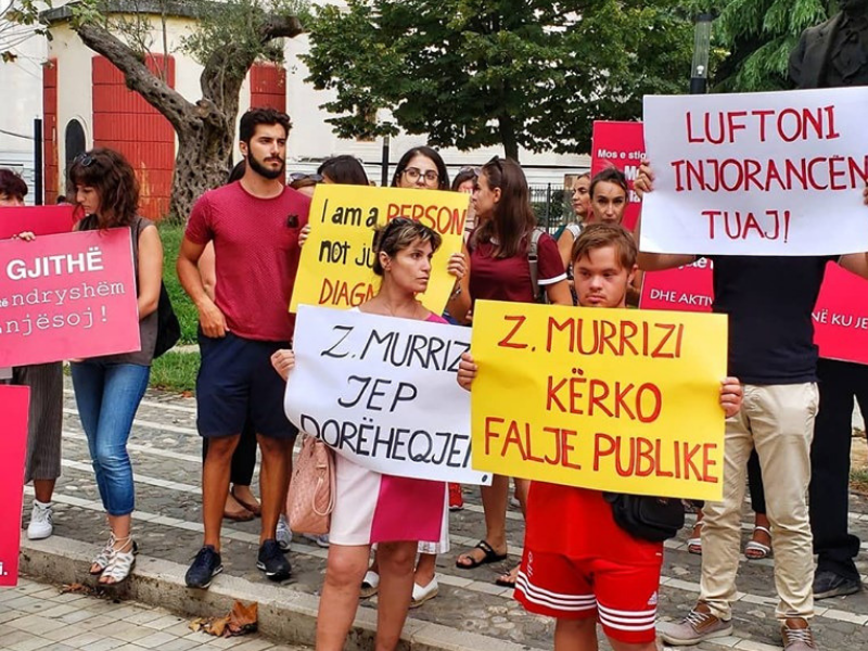 'Down Syndrome Albania' Protest Against 'Hate Speech' by Deputy Speaker of Parliament