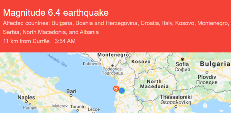 Largest Earthquake in Decades Hits Albania
