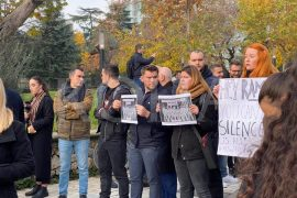 Journalists Protest 'Draconian' Media Laws outside Albanian Parliament