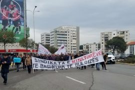 Albanian Miners Bring Protest against Albchrome in Front of Prime Minister's Office