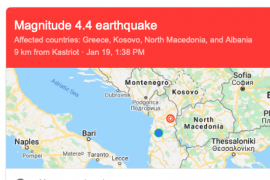 Two Earthquakes Hit Northern Albania on Sunday Afternoon