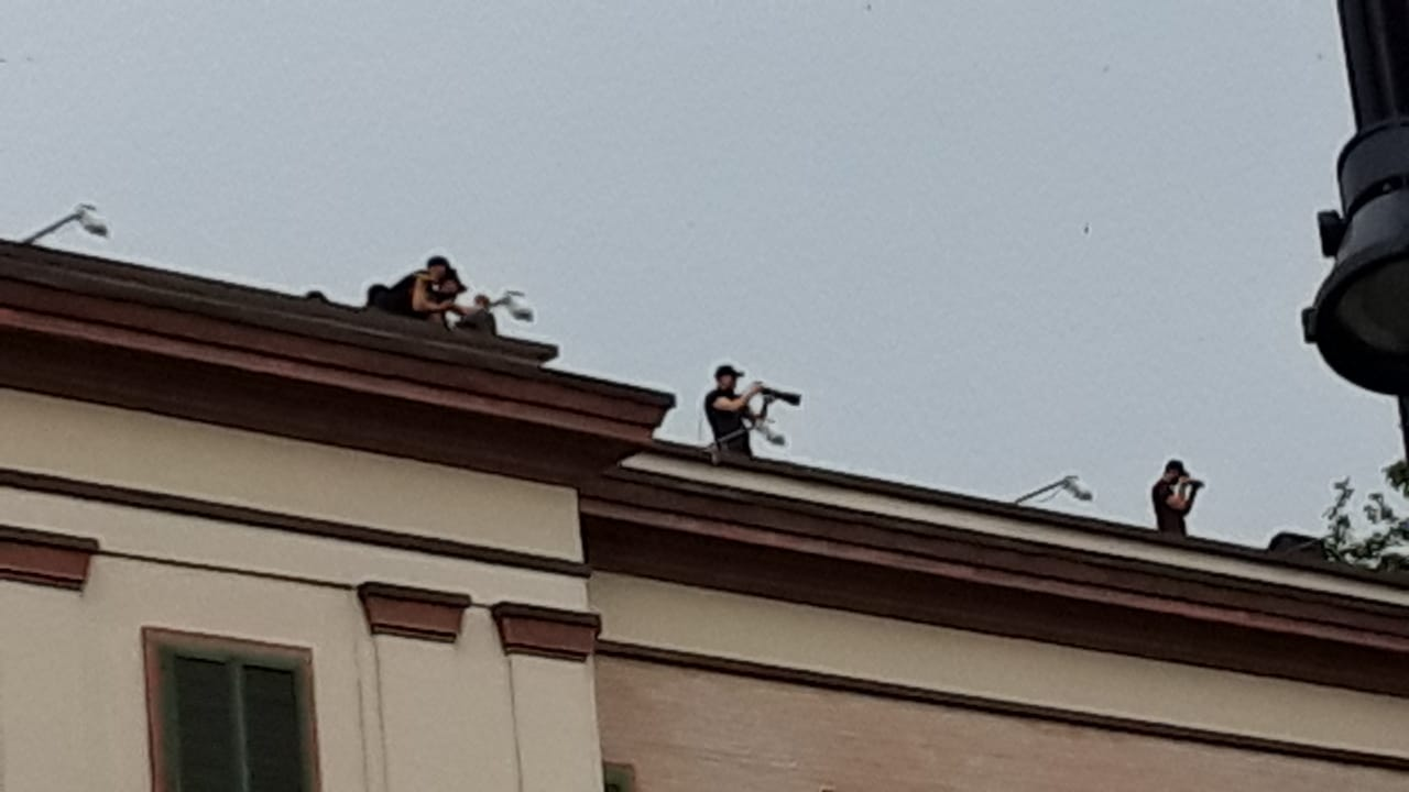 Albanian Police Monitoring Tirana Protest with Sniper Rifles
