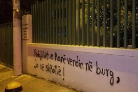 Grafitti Condemning State, Police and Media Reaction to Minors Rape Appears in Tirana Overnight