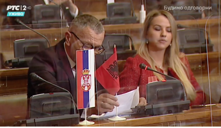 MP Criticized After Showing Albanian National Flag in Serbia's Parliament