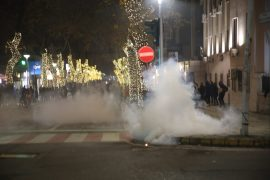 Albanian Police Disperse Protesters Using Teas Gas and Water Cannons