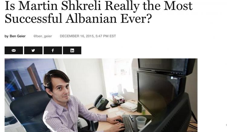 Martin Shkreli, shqiptari më i suksesshëm i të gjitha kohërave?