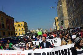 Qindra qytetarë protestojnë kundër betonizimit të Parkut të Liqenit