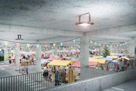 Sheshi Skënderbej: Ushqime dhe libra nën dhé, beton dhe pllaka guri mbi dhé
