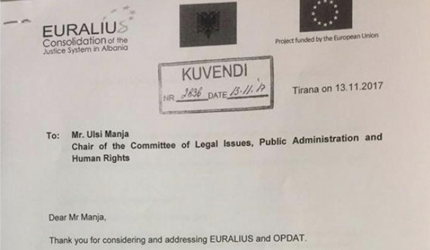 EURALIUS fsheh opinionin ligjor mbi Prokurorin e Përkohshëm të Përgjithshëm
