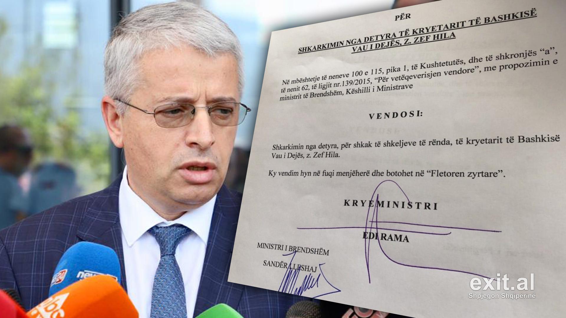 Qeveria shkarkon kryebashkiakun e Vaut të Dejës