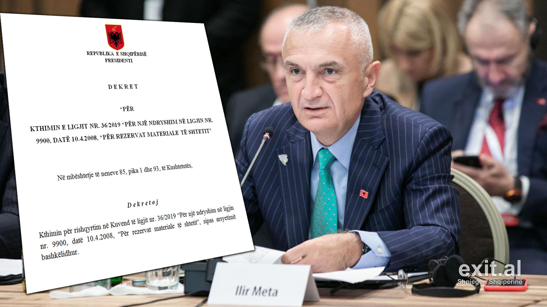 Meta kthen ligjin për rezervat e shtetit – Argumentet kryesore