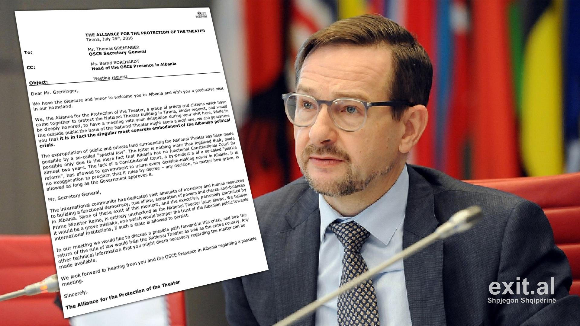 Sekretari i Përgjithshëm i OSBE-së: të ndalet projekti i teatrit deri sa të vendosë Gjykata Kushtetuese