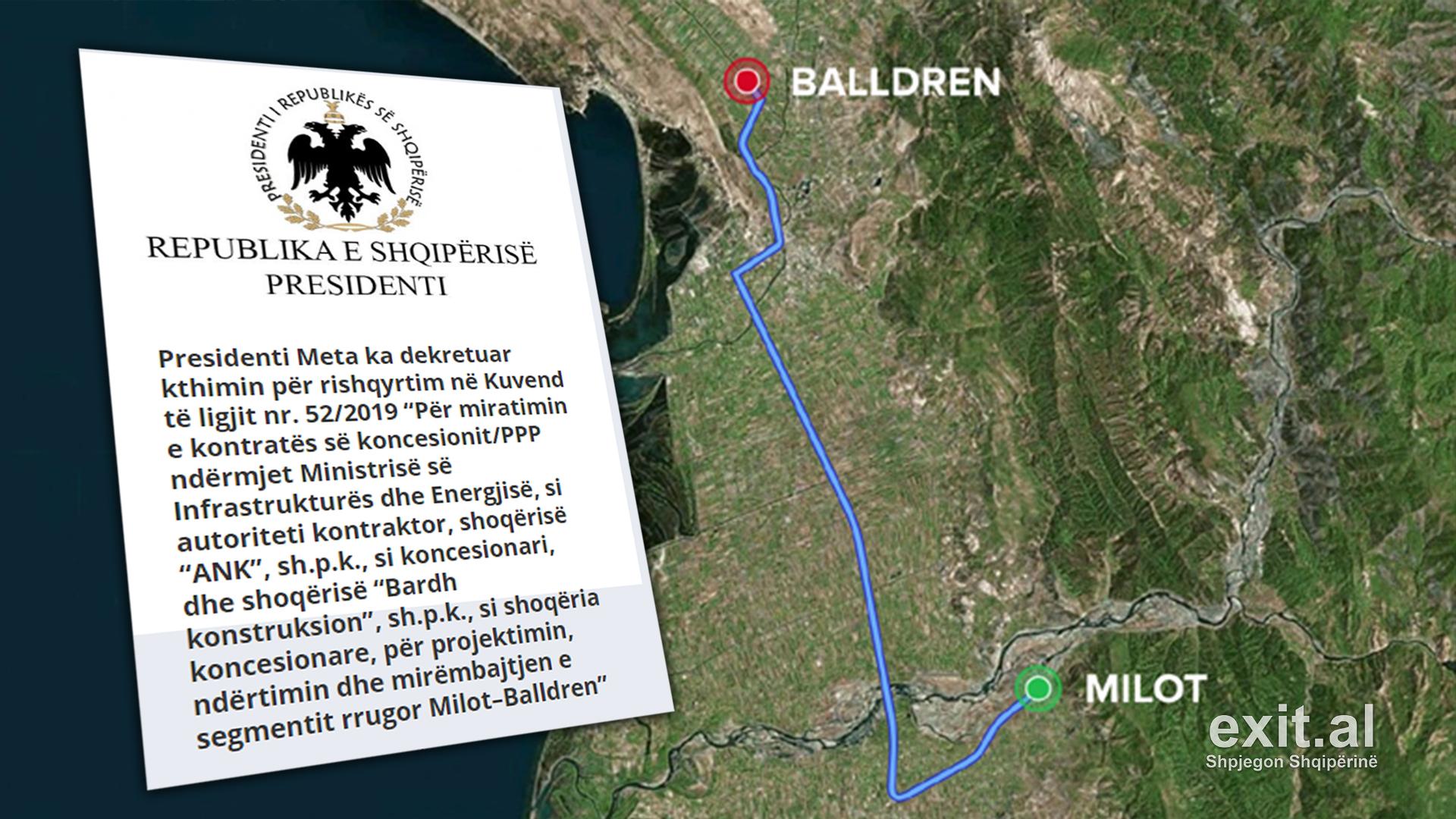 Meta kthen ligjin e koncesionit të rrugës Milot-Balldren