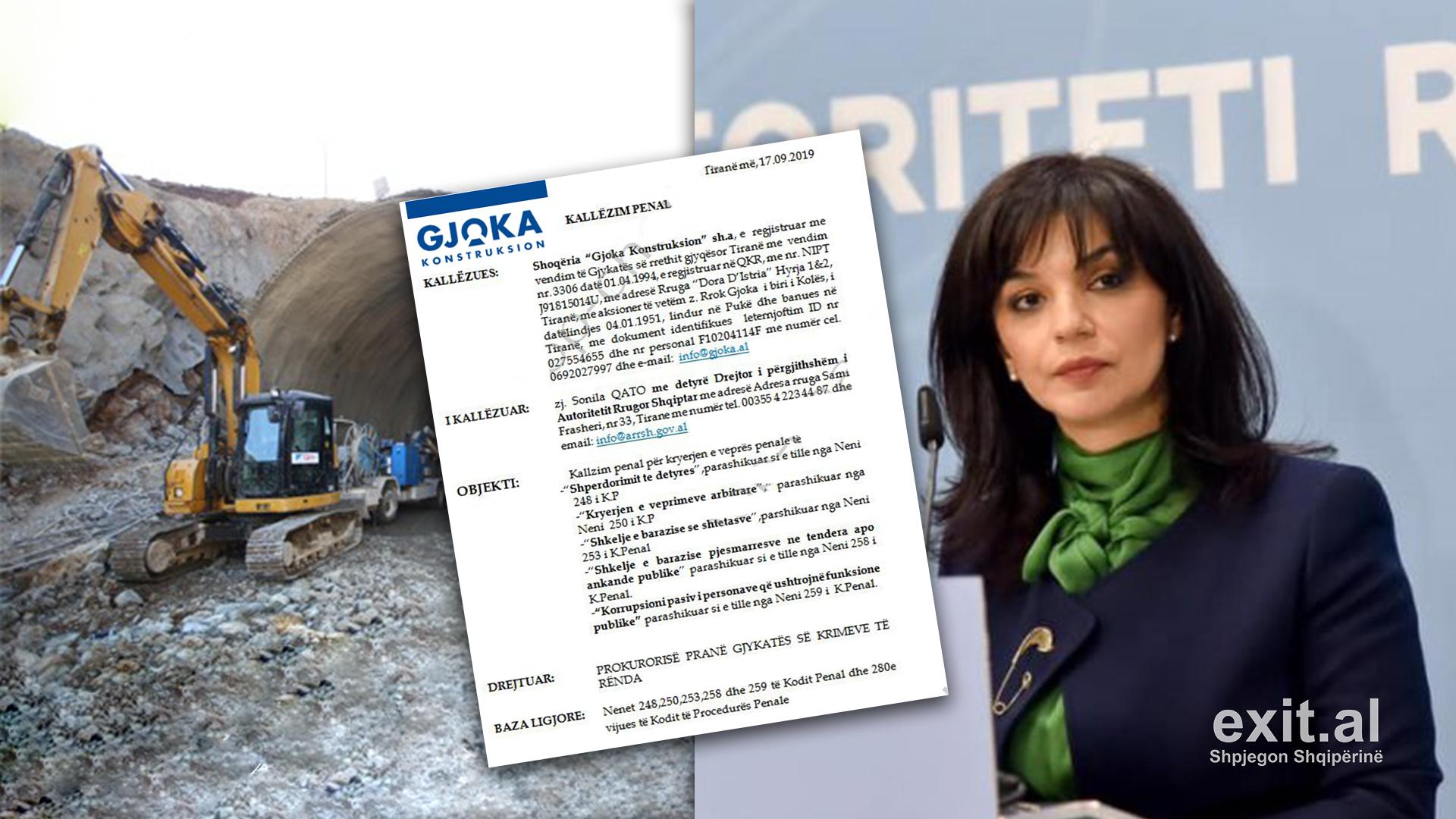 Kompania Gjoka padit për shpërdorim detyre drejtoreshën e Autoritetit Rrugor