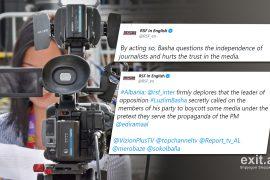 Reporterët pa Kufij kritikojnë Bashën për goditjen e besimit publik në media