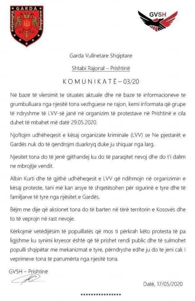 Letra e publikuar nga Albin Kurti