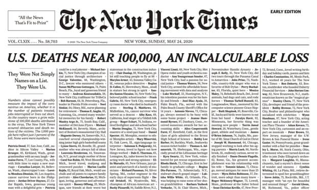 The New York Times publikon emrat e 1000 viktimave të Covid-19