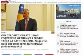 Si e pasqyruan dorëheqen e presidentit Thaçi mediat serbe