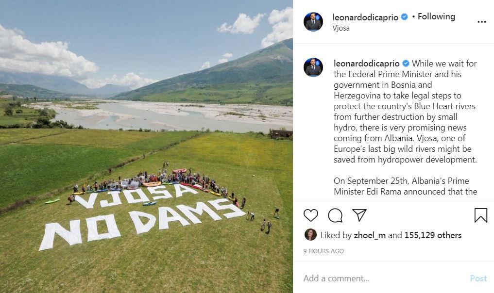 Leonardo DiCaprio i bën thirrje qeverisë shqiptare të anullojë ndërtimin e hidrocentraleve në Vjosë